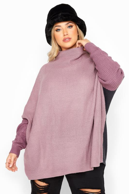 Plus Size  Purple Colour Block Oversized Knitted Jumper