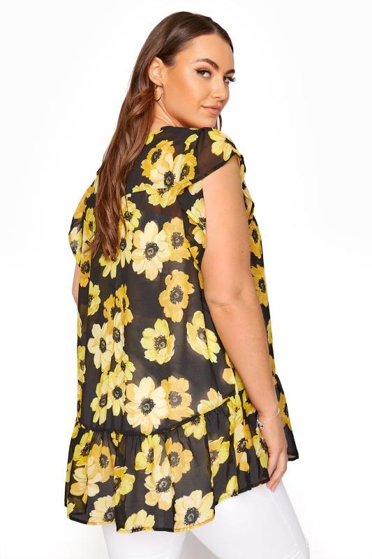 Black and Yellow Floral Frill Hem Tunic_C.jpg