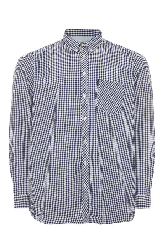 Plus Size  BEN SHERMAN Blue Check Signature Long Sleeve Shirt