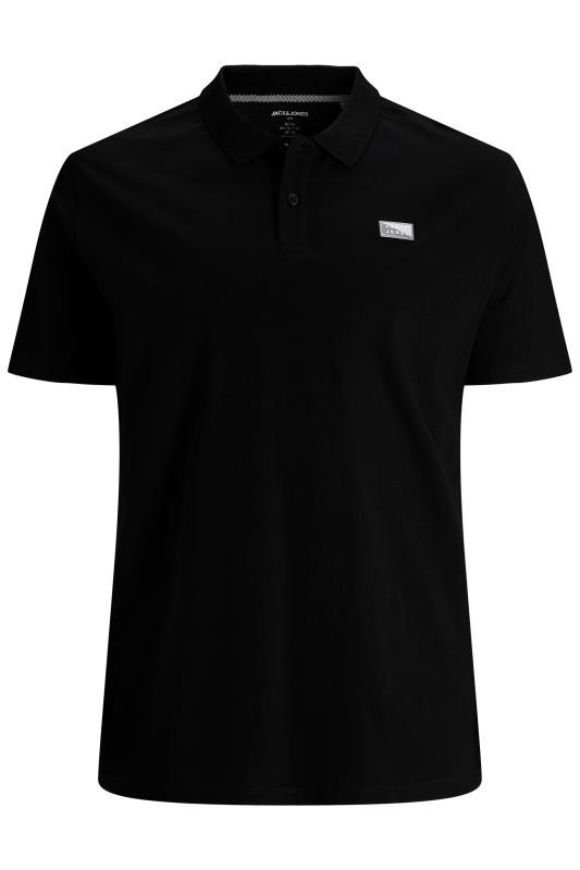 Plus Size  JACK & JONES Black Shultz Logo Polo Shirt