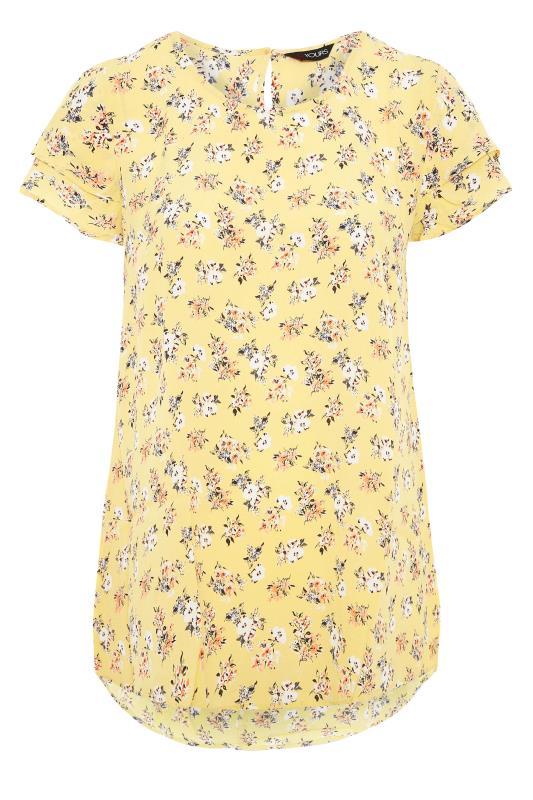 Yellow Floral Print Dipped Hem Blouse_F.jpg