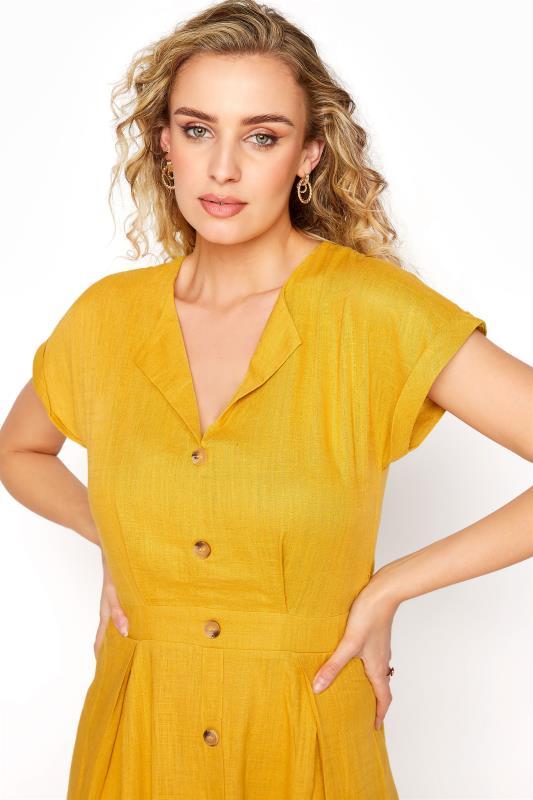 LTS Yellow Linen Blend Button Front Tulip Dress_D.jpg