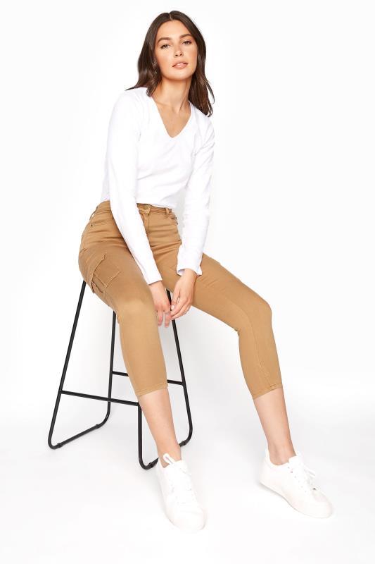 Tan Skinny Fit Crop Combat Jeans