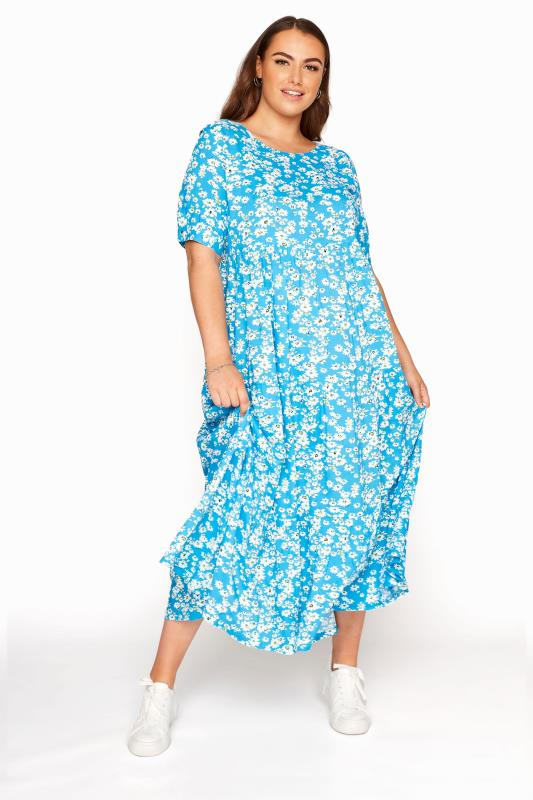 LIMITED COLLECTION Blue Daisy Tiered Smock Dress_B.jpg