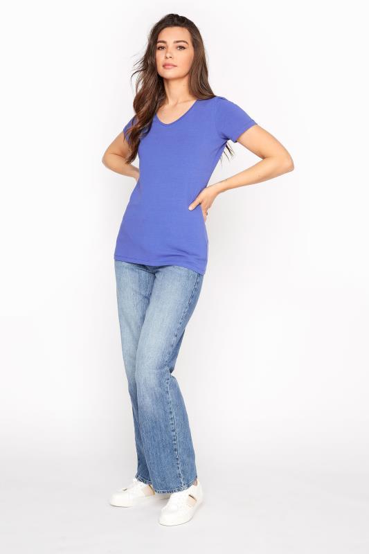 Blue Cotton Stretch V-Neck T-Shirt