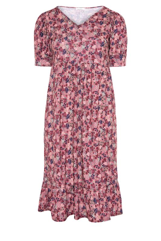 YOURS LONDON Pink Ditsy Tiered Dress_F.jpg