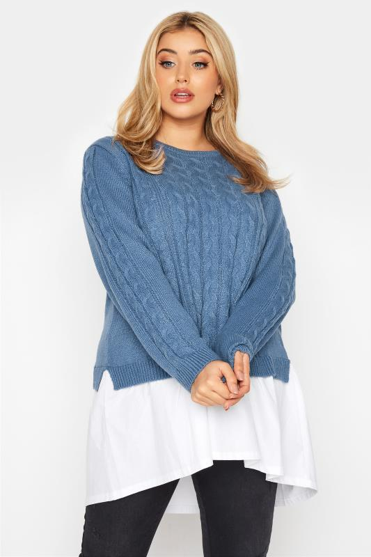 Plus Size  Blue 2 In 1 Poplin Hem Cable Knitted Jumper