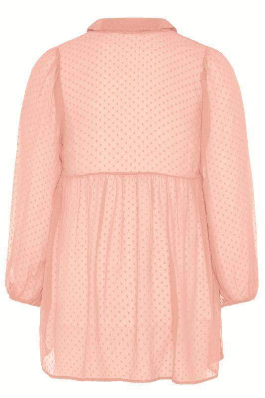 Pink Peplum Dobby Chiffon Shirt