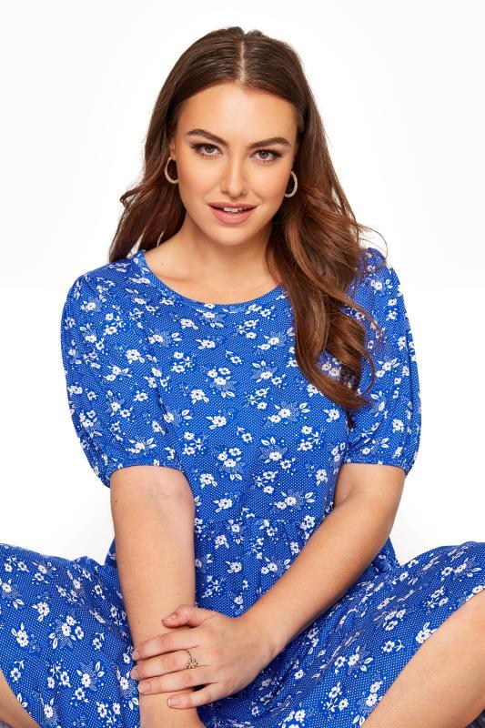 Blue Floral Puff Sleeve Midaxi Dress_D.jpg