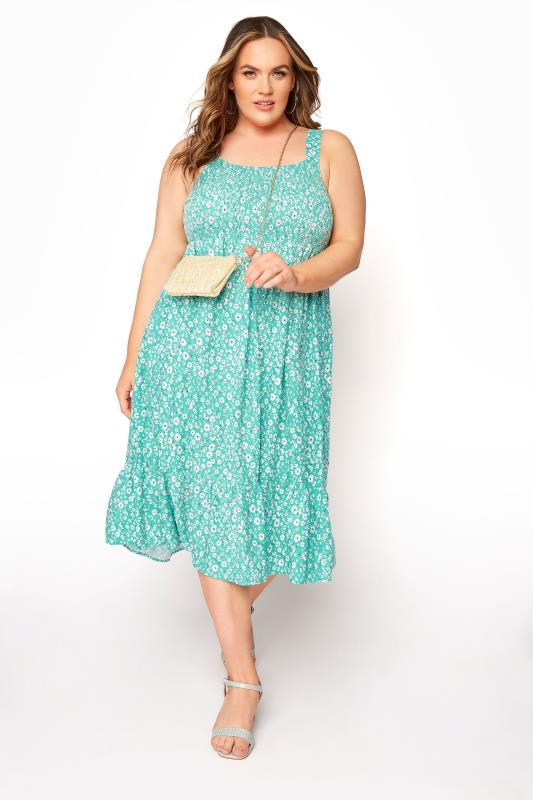 Green Floral Sleeveless Shirred Dress_B.jpg