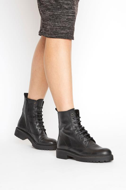 Black Lace Up Leather Boots