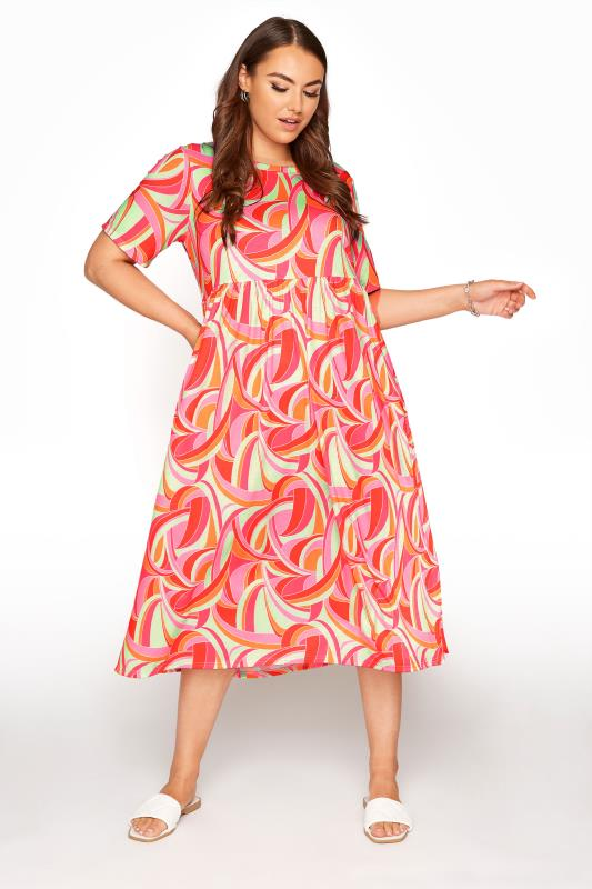 Plus Size  LIMITED COLLECTION Pink Abstract Print Midaxi Smock Dress
