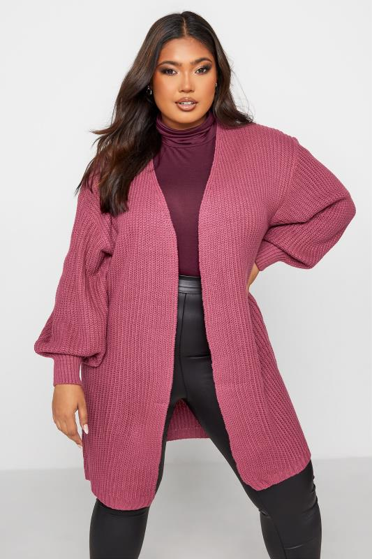 Plus Size  Pink Balloon Sleeve Knitted Cardigan