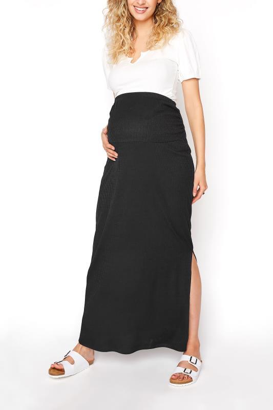 Tall  LTS Maternity Black Ribbed Maxi Skirt