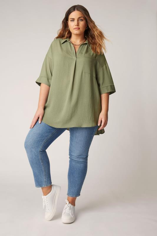 THE LIMITED EDIT Olive Green Pleated Front Top_B.jpg