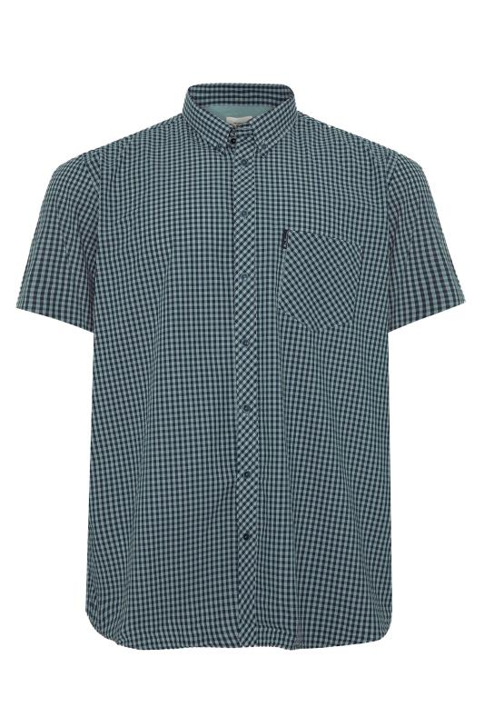Plus Size  BEN SHERMAN Blue Check Signature Short Sleeve Shirt