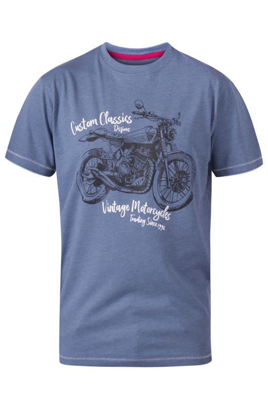 Men's  D555 Blue Classic Motorcycle Crew Neck Printed T-Shirt