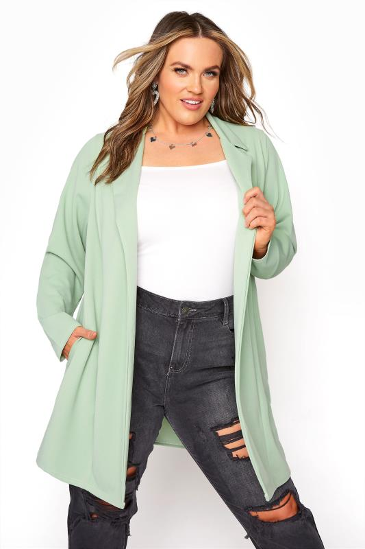 Tallas Grandes Sage Green Longline Blazer