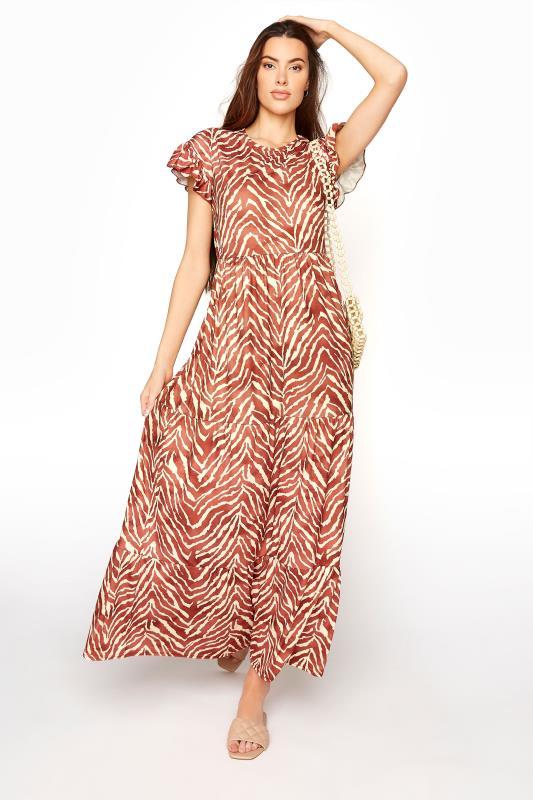 LTS Rust Zebra Print Tiered Midaxi Dress_B.jpg