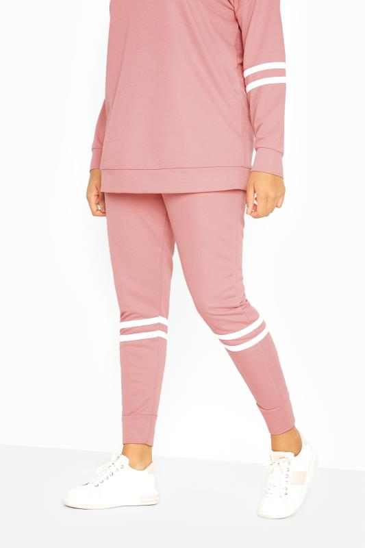 Pink Double Stripe Slim Fit Joggers