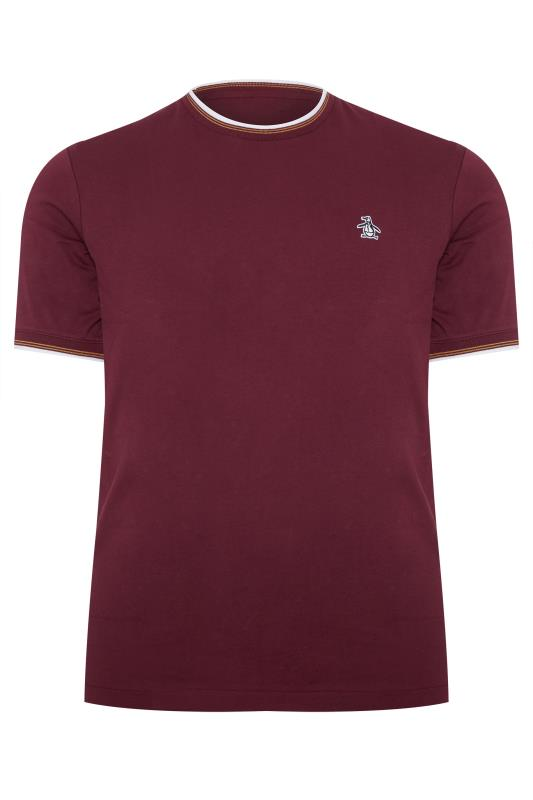 Plus Size T-Shirts PENGUIN MUNSINGWEAR Burgundy & White Contrast Ringer T-Shirt