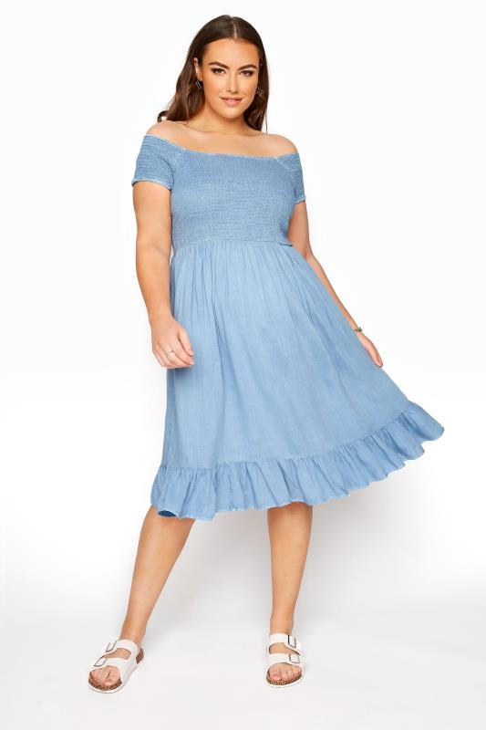 Plus Size  Blue Acid Wash Shirred Bardot Dress