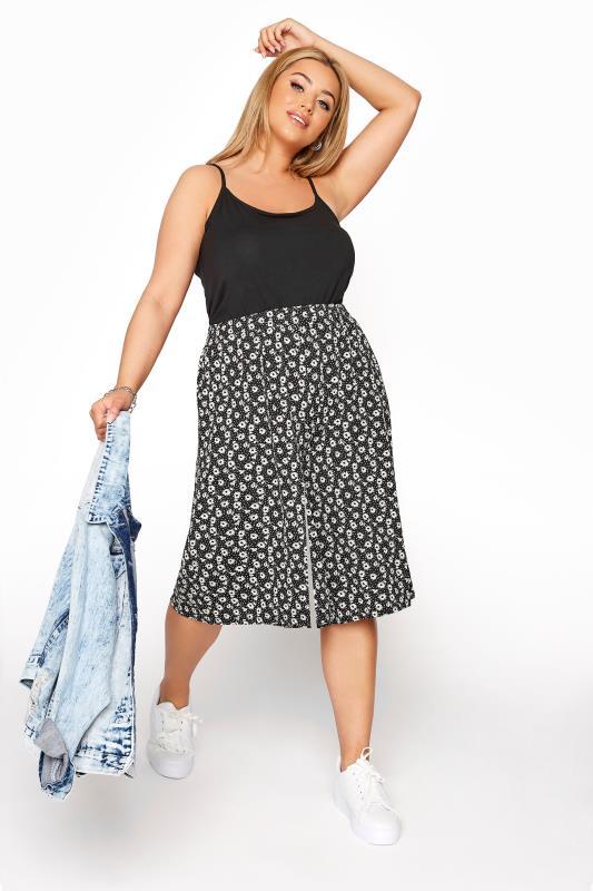 Plus Size  Black Floral Print Culottes