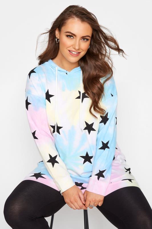 Plus Size  Multicoloured Tie Dye Star Print Hoodie