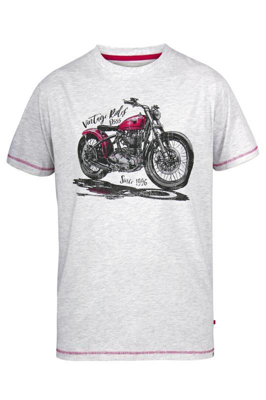 Men's  D555 Grey Vintage Rides Motorbike Print T-Shirt