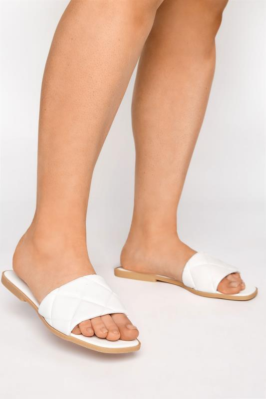 Tall  Yours White Quilted Flat Mules in Regular Fit