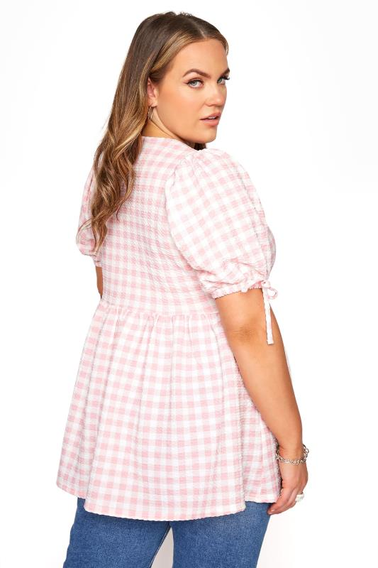 LIMITED COLLECTION Pink Gingham Wrap Front Smock Top_C.jpg