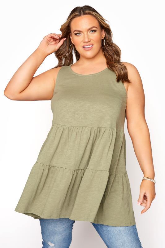 Plus Size  Sage Green Double Peplum Vest