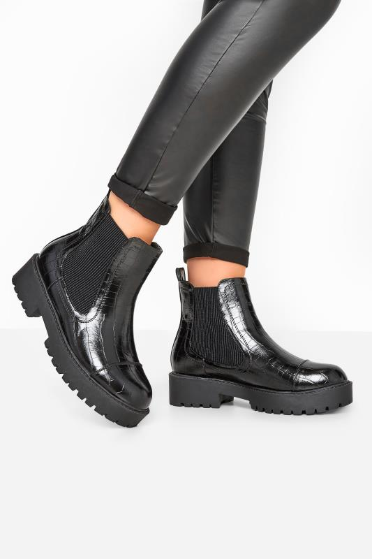 Wide Fit Boots LIMITED COLLECTION Black Patent Croc Platform Chelsea Boots In Wide Fit