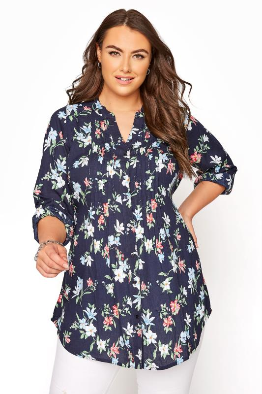 Plus Size  Navy Floral Belted Tie Pintuck Shirt