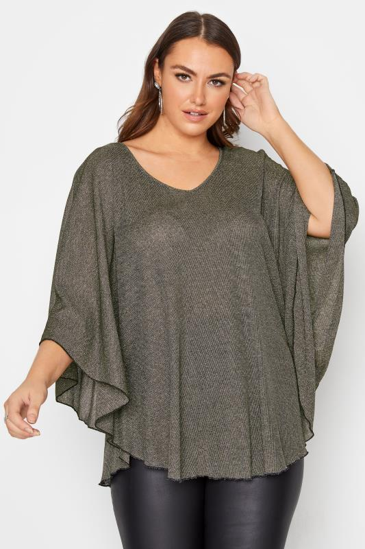 Plus Size  Gold Batwing Sleeve Top
