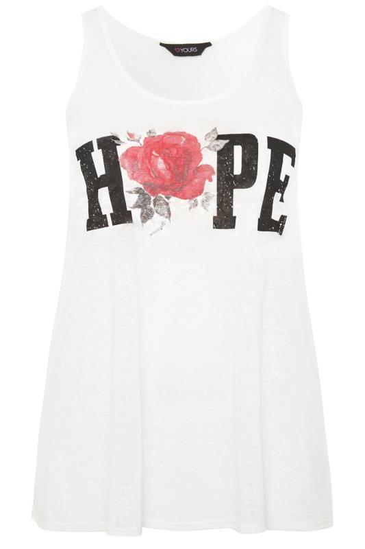 White Burnout 'Hope' Slogan Vest Top