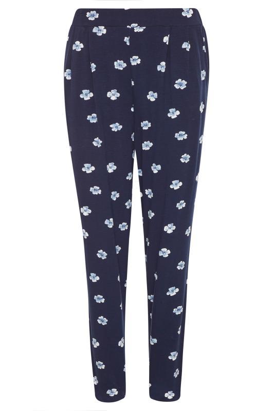LTS Blue Floral Double Pleat Jersey Harem Trousers_f.jpg
