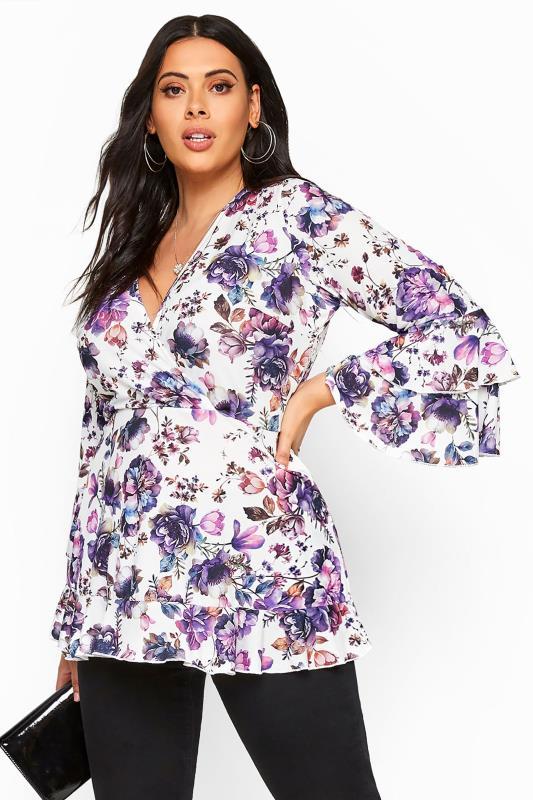 Plus Size Wrap Tops YOURS LONDON White & Purple Floral Wrap Top
