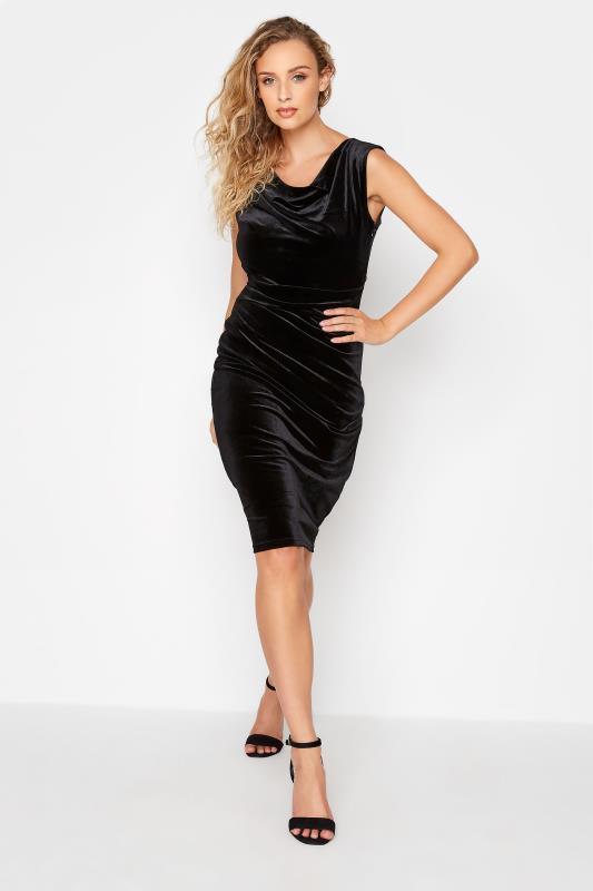 Tall  LTS Black Cowl Neck Velvet Dress