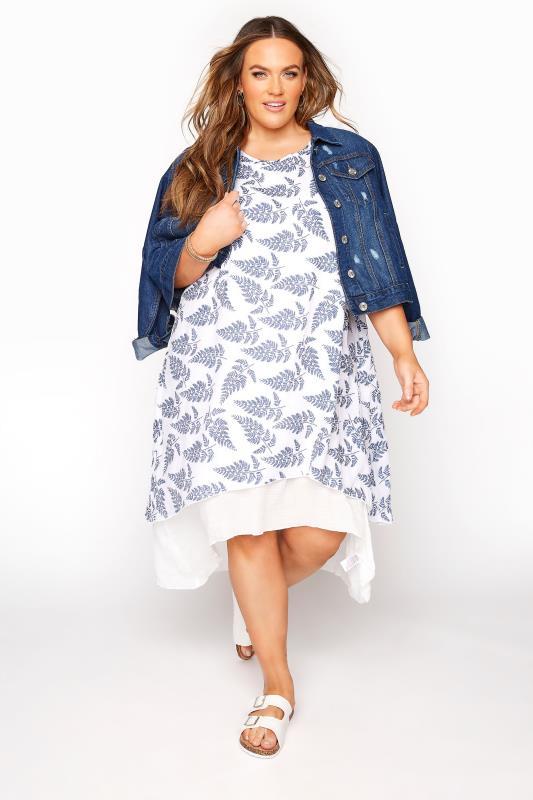 White Leaf Print Double Layer Dress
