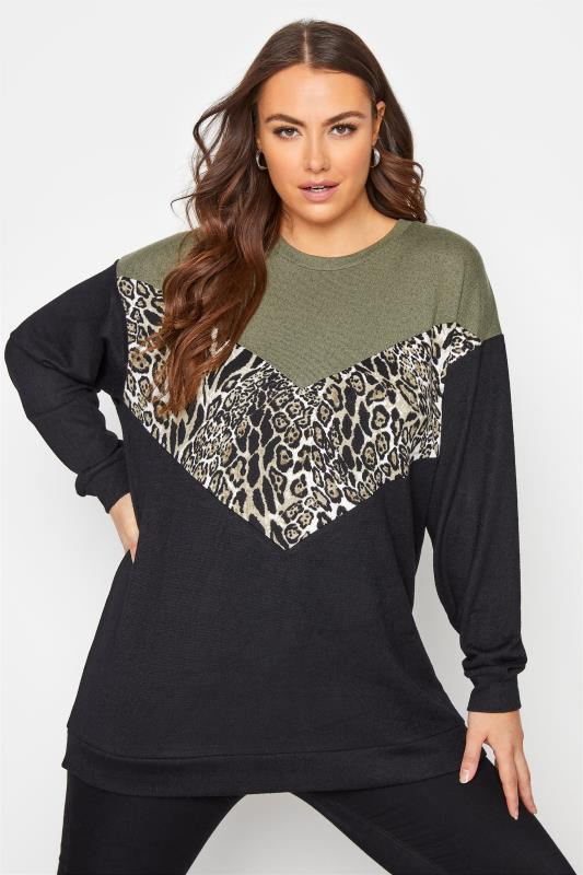 Grande Taille Black Animal Colour Block Knitted Top