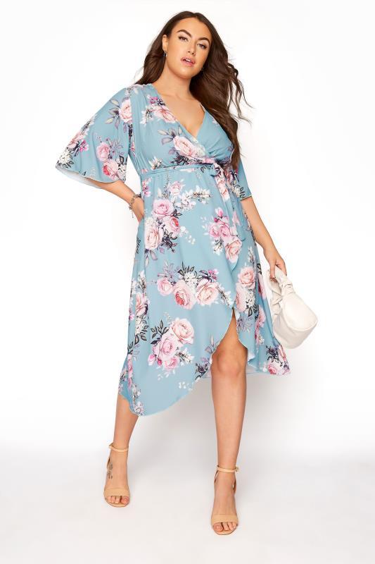 YOURS LONDON Blue Floral Wrap Midi Dress_B.jpg