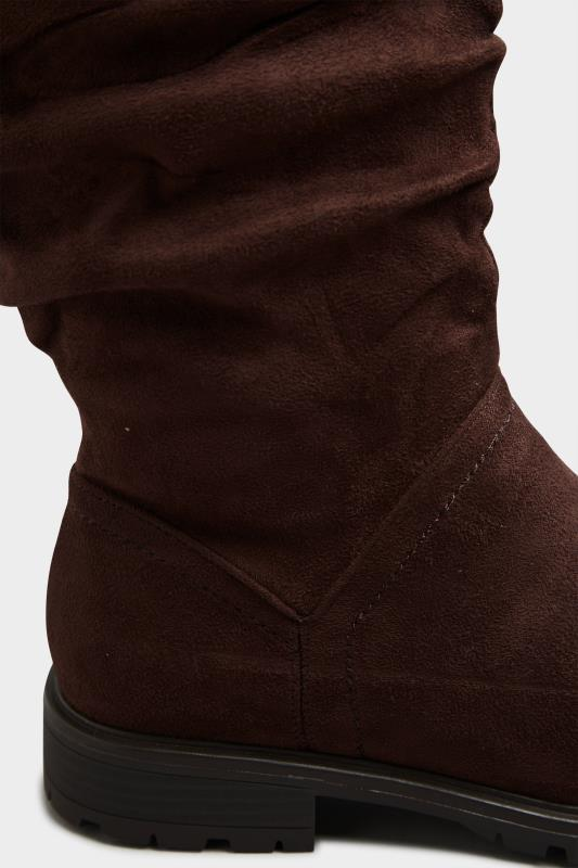 Chocolate Brown Ruched Cleated Boots In Regular Fit_E.jpg