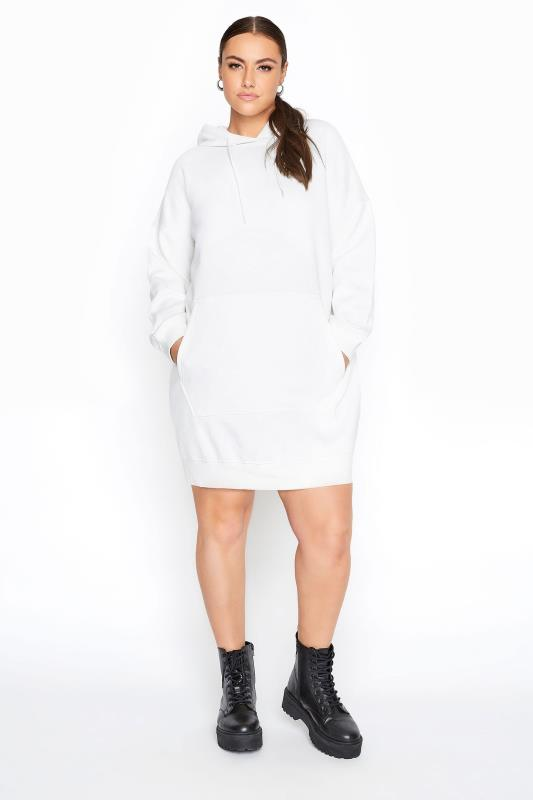 Plus Size  LIMITED COLLECTION Ecru Cotton Jersey Longline Hoodie