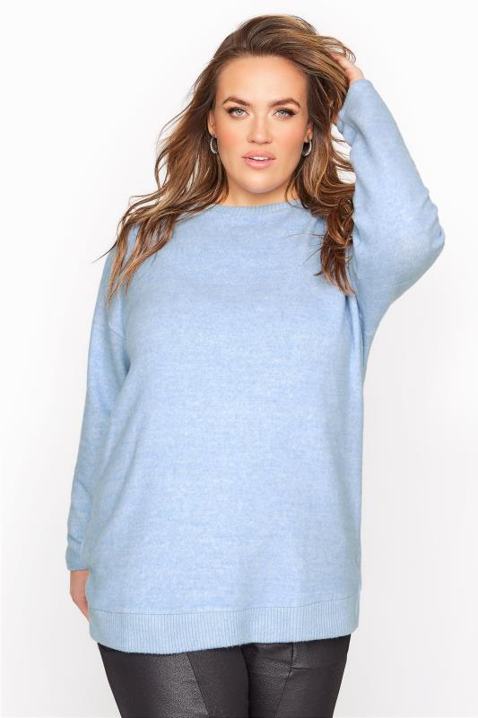 Plus Size  Blue Soft Touch Swing Top