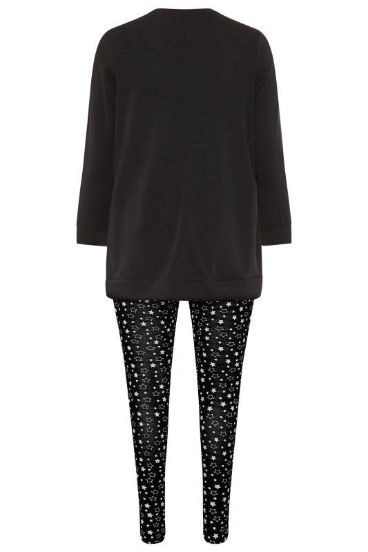 Pyjama-set met 'Weekend Vibes' slogan in zwart