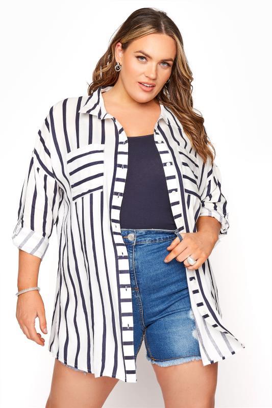 Plus Size  Blue Striped Oversized Drop Shoulder Shirt