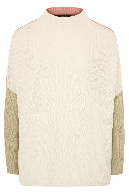 Cream Colour Block Oversized Knitted Jumper_F.jpg