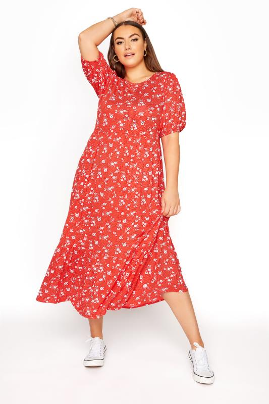 Plus Size  Red Floral Short Sleeve Midi Dress