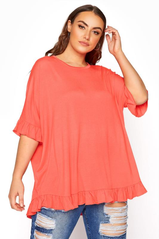 Plus Size  LIMITED COLLECTION Coral Oversized Frill Jersey T-Shirt